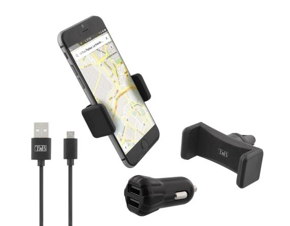 Pack voiture 3 en 1 chargeur allume-cigare 2XUSB-A 10W + support grille d'aération + câble micro USB