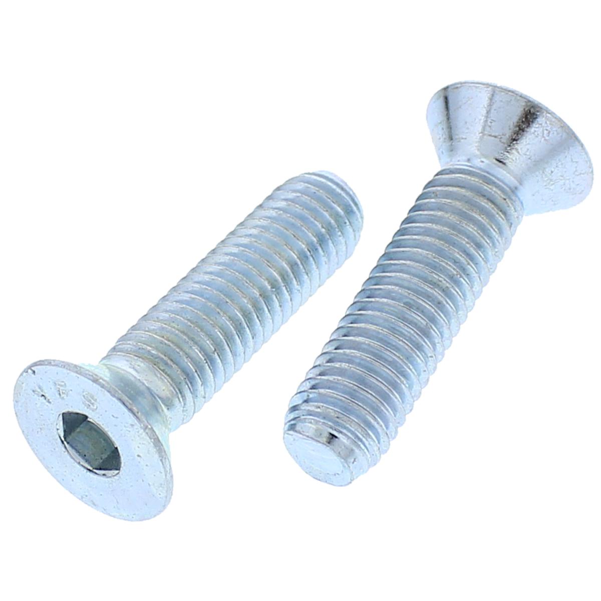 "#10-24 x 1/2"" Flat Head Socket Cap Screws — Alloy Steel Heat Treated, Coarse Thread, Zinc, 100/PKG"