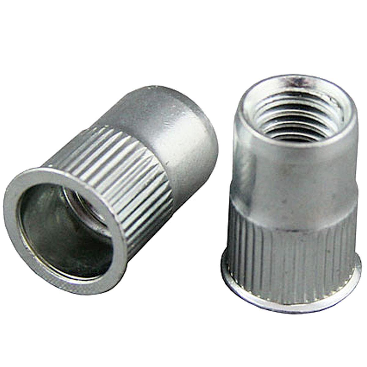#10-24, .020-.130 Grip Aluminum Ribbed Rivet Nuts — Coarse, 50/PKG