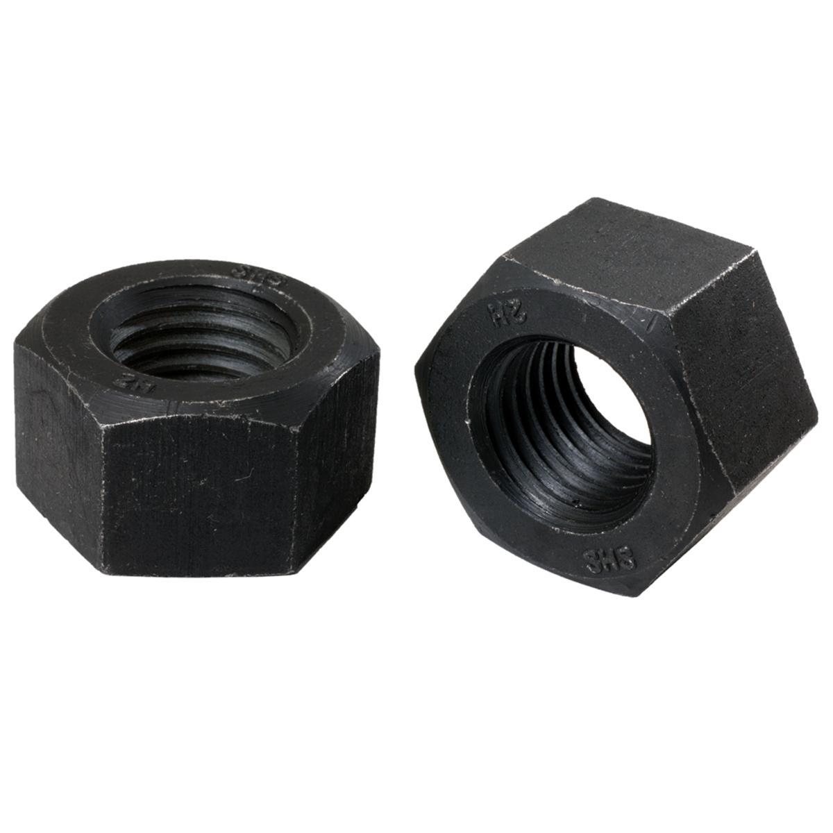 "1""-8 Heavy Hex Nuts — ASTM A194 Grade 2H, Plain - Coarse, 10/PKG"