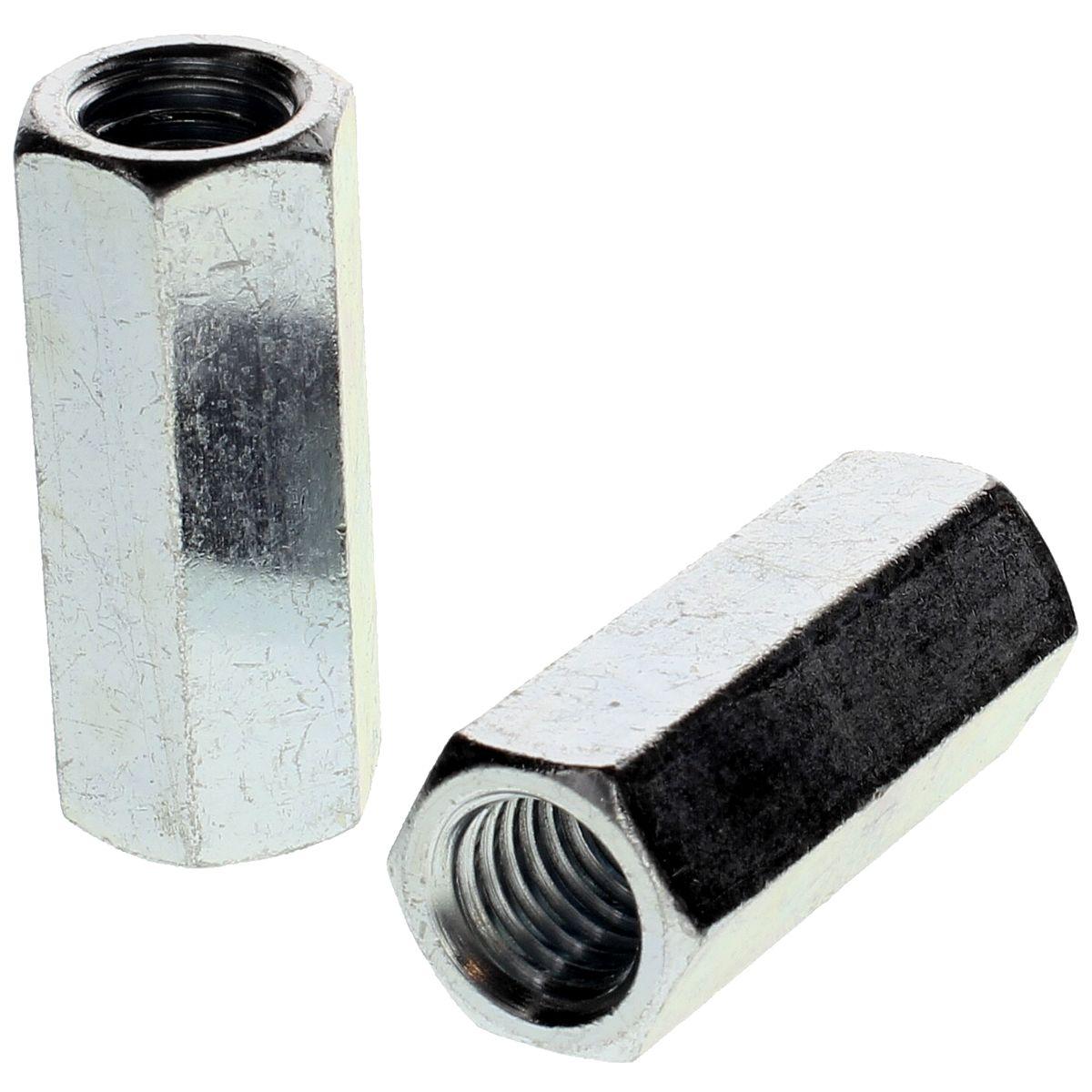 "#10-32 x 3/4"" Hex Coupling Nuts — ASTM A563 Grade A, Zinc, Fine, 50/PKG"