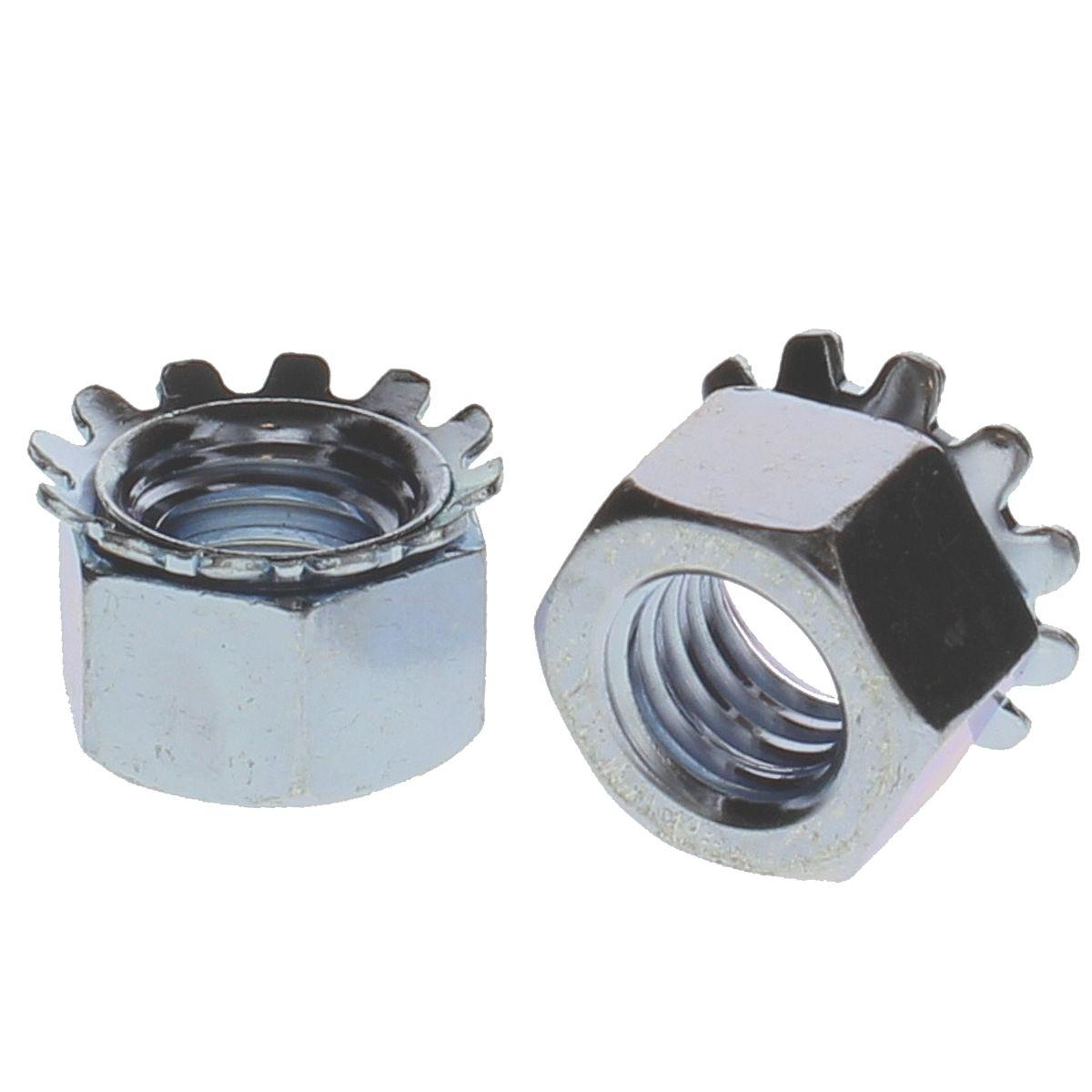#12-24 Hex Washered Lock Nuts — ASME B1.1, Zinc, Coarse, 100/PKG