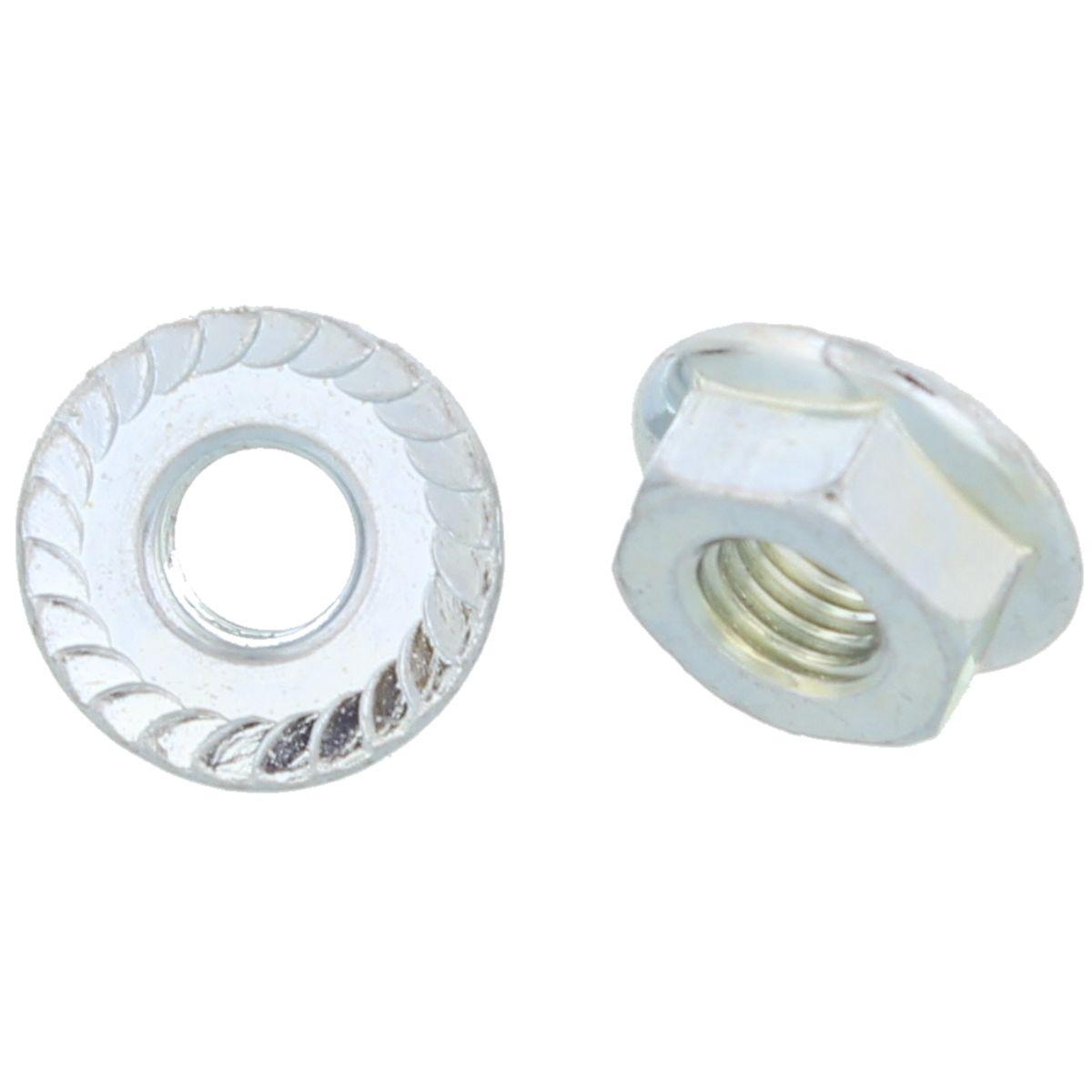 #10-32 Serrated Flange Lock Nuts — ASME B18.16.4, Zinc, Fine, 100/PKG