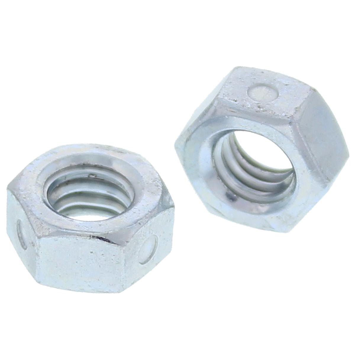 """1""""-8 Steel Two-Way Lock Nuts — ASME B18.16.6, Zinc, Coarse, 10/PKG"""