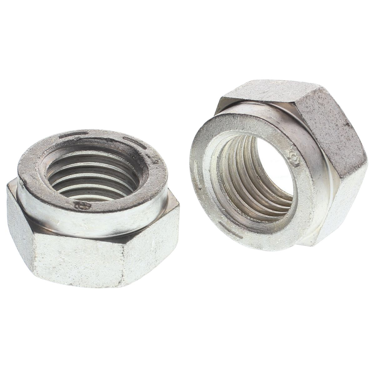 "1-1/2""-6 Hex Collar Style Uni-Torque Locking Nuts — All Steel Grade C, Coarse, Zinc & Waxed, 1/PKG"