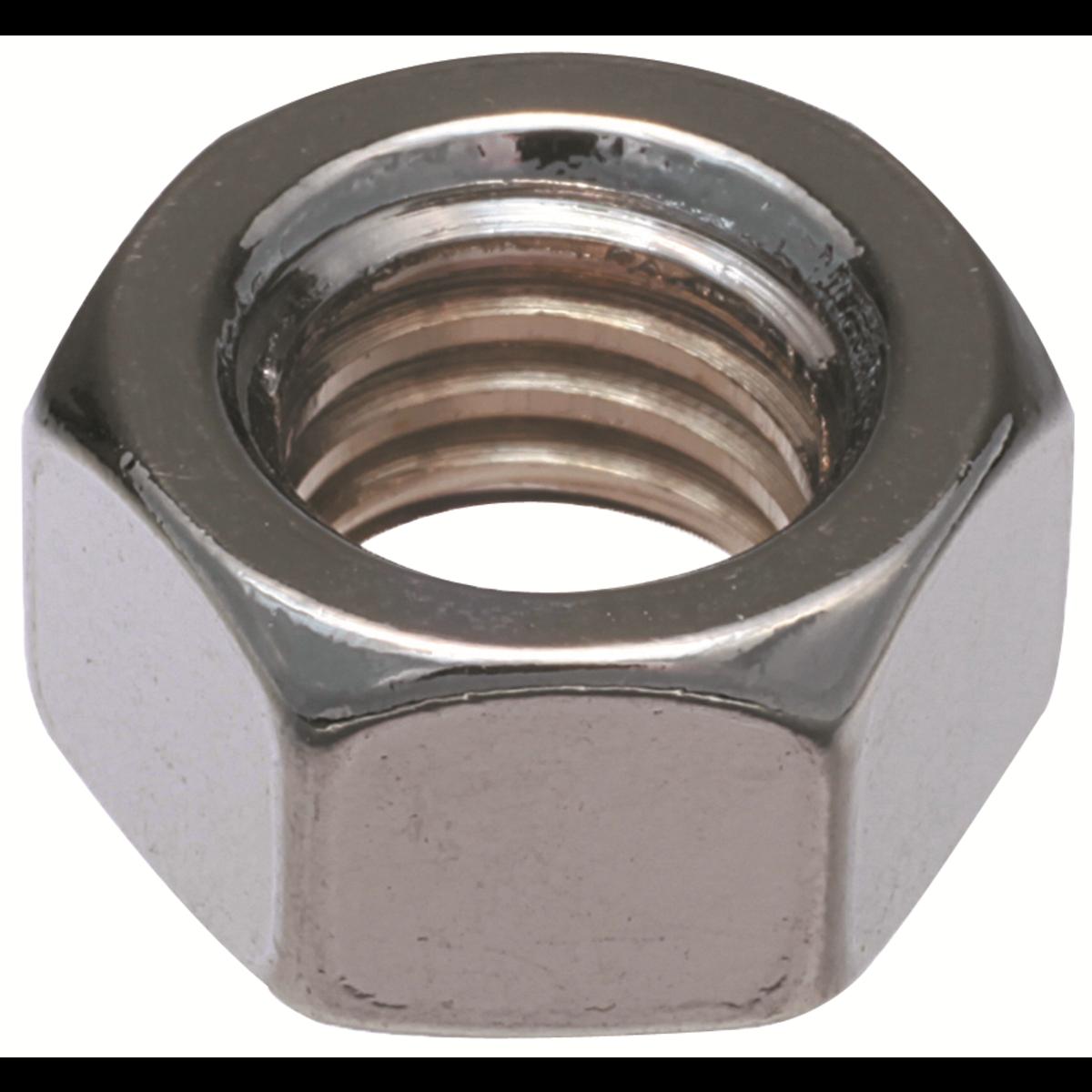 "1-1/8""-7 Finished Hex Full Nuts — ASTM A563 Grade A, Zinc, Coarse, 1/PKG"