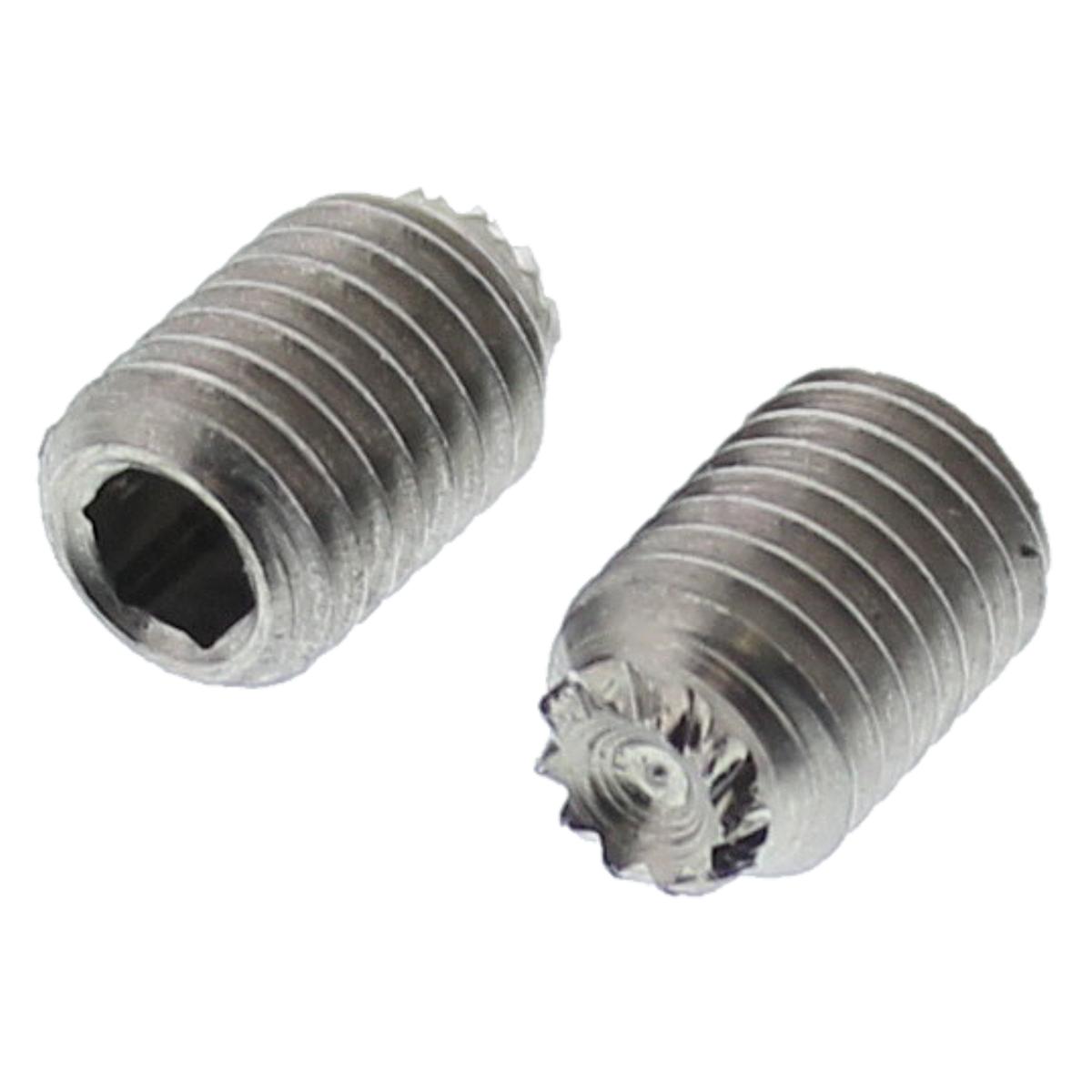 "#10-32 x 1/4"" Socket Set Screws — 18-8 Stainless Steel, Knurled Point - Fine, 100/PKG"