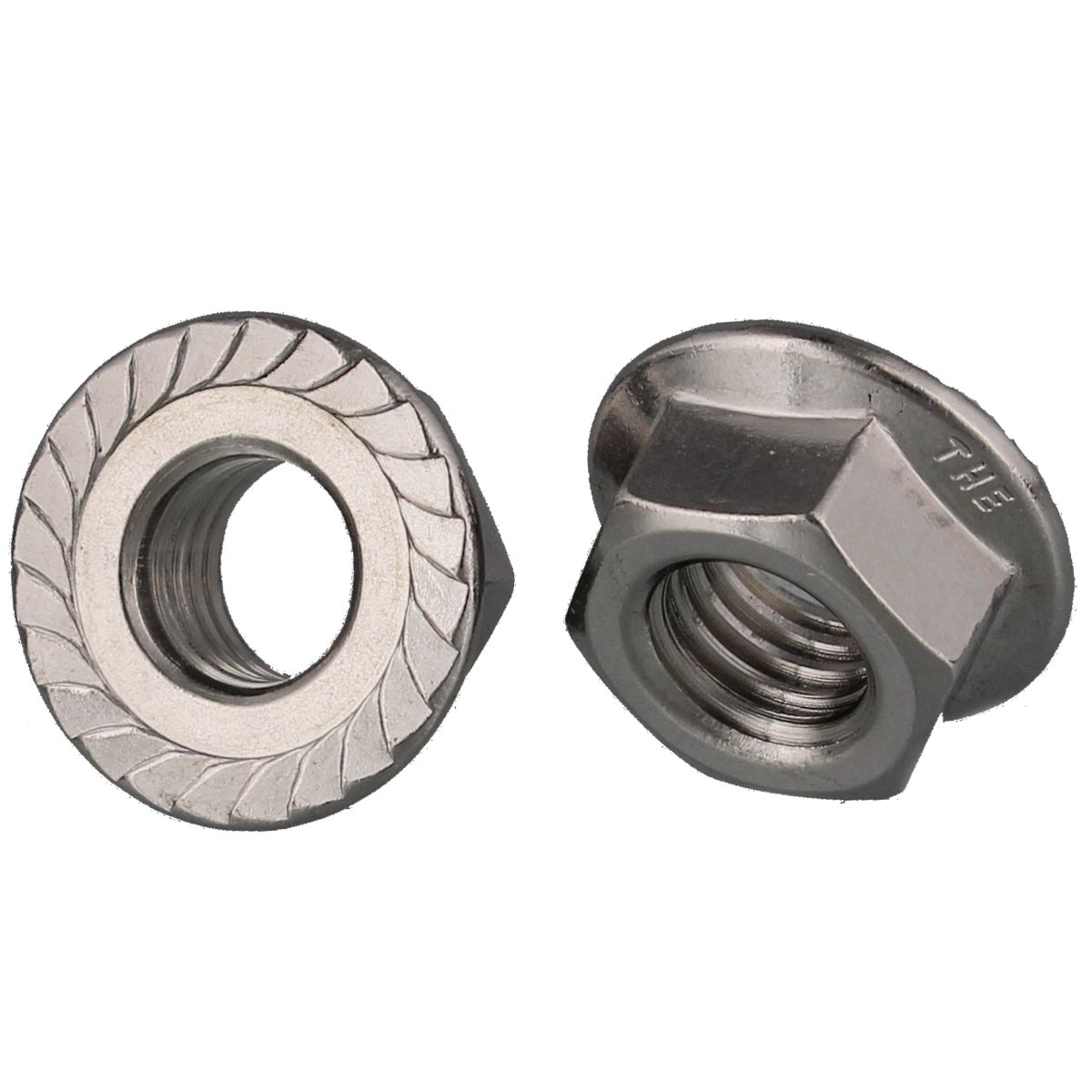 #10-24 Serrated Hex Flange Nuts — 18-8 Stainless Steel, Coarse, 100/PKG