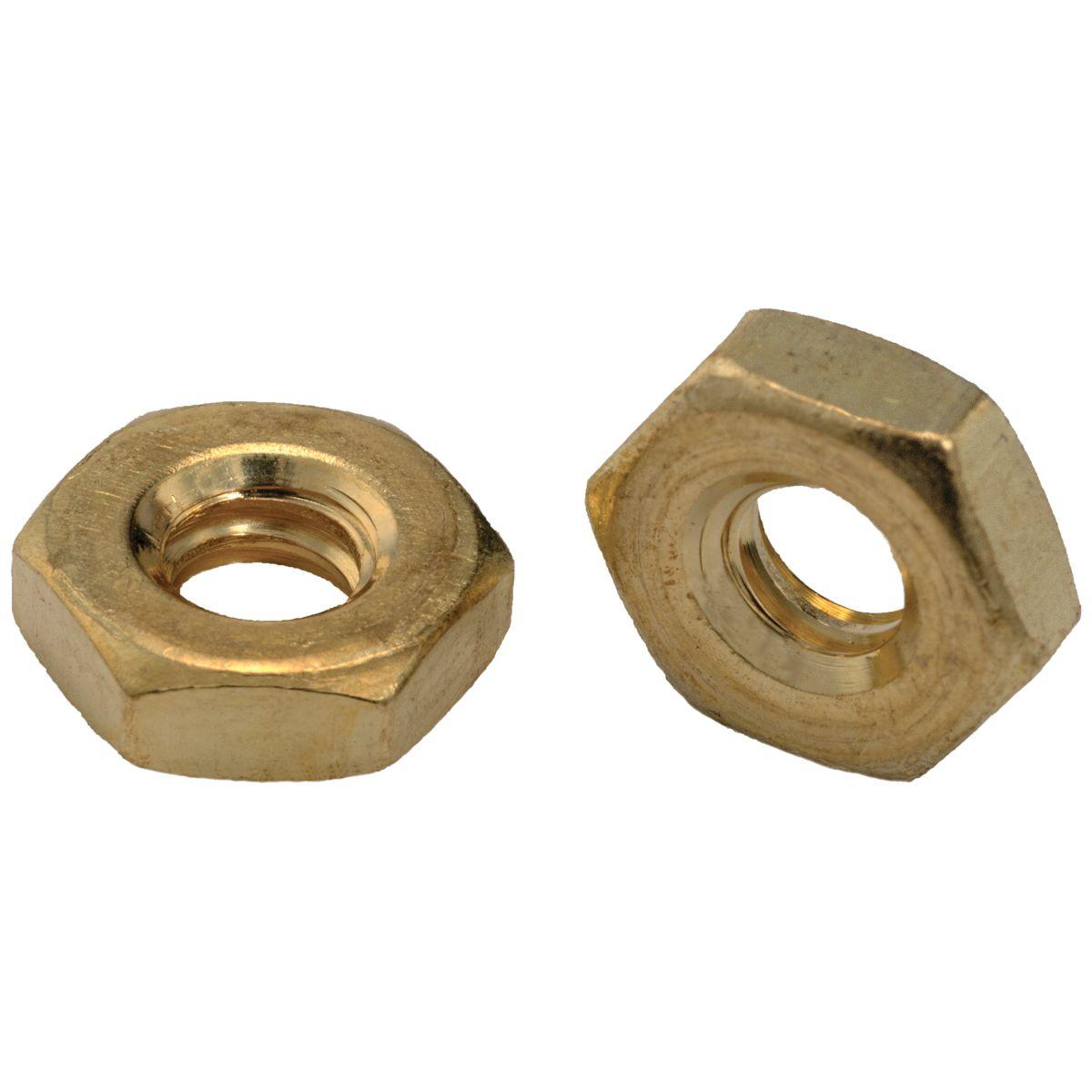 #12-24 Hex Machine Screw Nuts — Brass, Coarse, 100/PKG