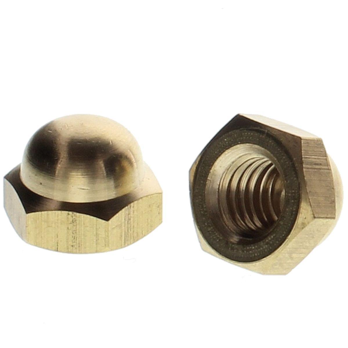 #10-24 Hex Cap Nuts — Brass, Coarse, 100/PKG