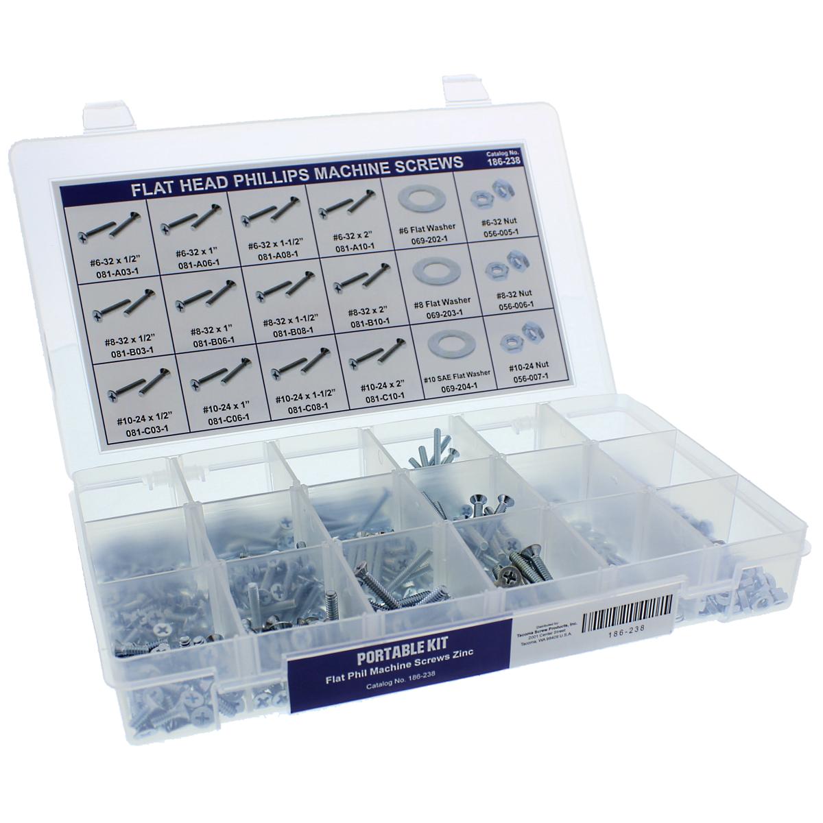 Flat Head Phillips Machine Screws Portable Kit Assortment, Steel, Zinc