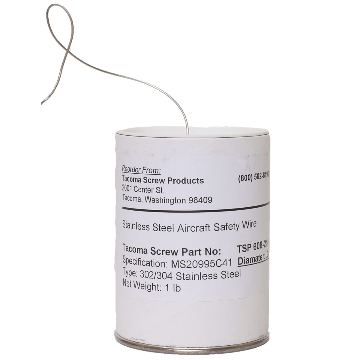 """.032"""" x 360' Stainless Steel Aircraft Safety Lock Wire"""