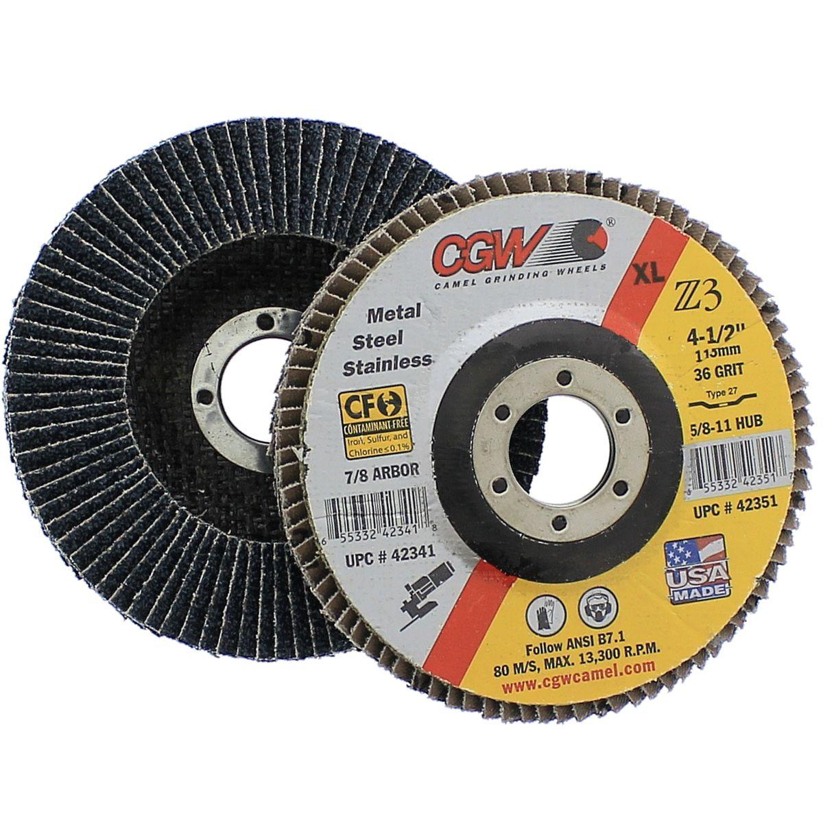 """CGW 42341 4-1/2"""" x 7/8"""" 36 Grit Type 27 Z3 Zirconium XL Flap Disc"""