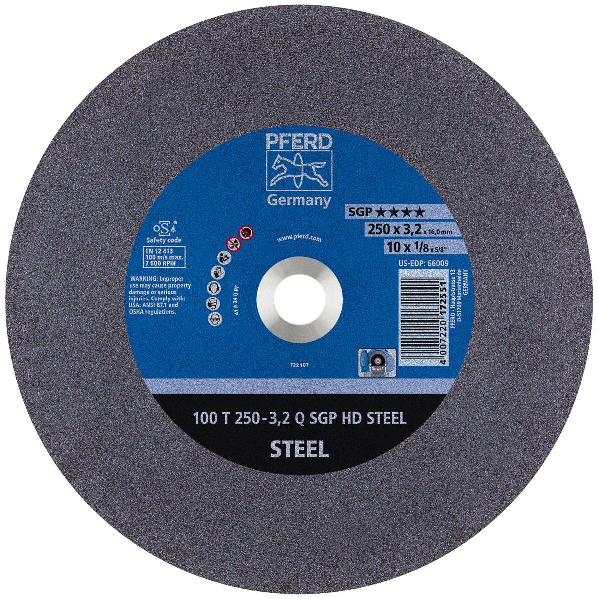 "10"" x 1/8"" x 5/8"" Type 1 Cut-Off Wheels for Ferrous Metals"