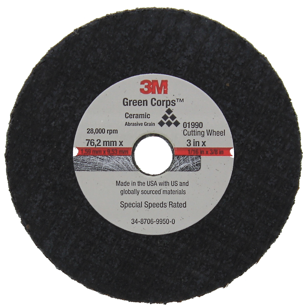 "3M™ 01990 Green Corps™ 3"" x 1/16"" x 3/8"" Cut-Off Wheel"