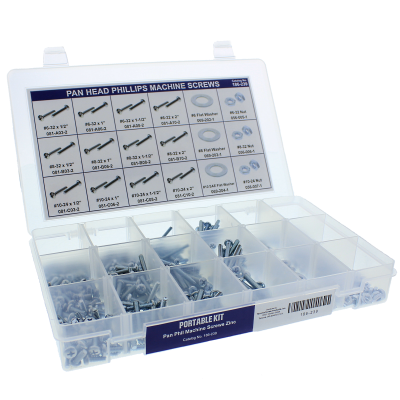 Pan Head Phillips Machine Screws Portable Kit Assortment, Steel, Zinc