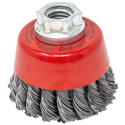 """2-3/4"""" x M14-2.00 Arbor .0020"""" Mini-Grinder Knot Wire Cup Brush — Steel"""