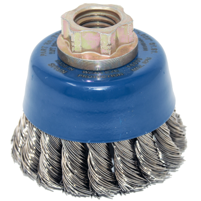 """2-3/4"""" x 5/8""""-11 Arbor .020"""" Mini-Grinder Knot Wire Cup Brush — Stainless"""