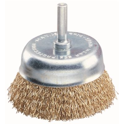 """3"""" 1/4"""" Stem .008"""" Crimped Wire End Cup Brush — Steel"""