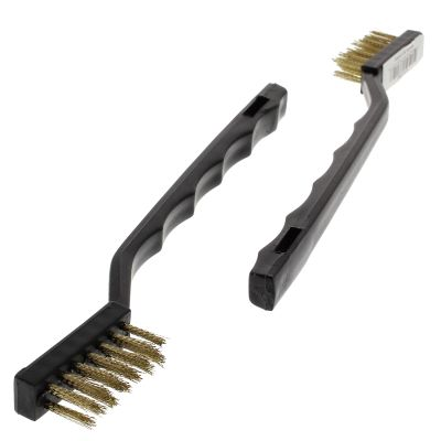 "1/2"" Brass MIni Wire Scratch Brush - Plastic Handle"