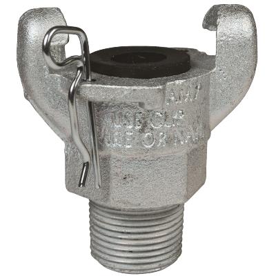 """2-Lug 1/2"""" NPT Male Hose End – Iron Zinc Plated"""