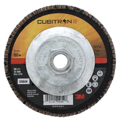 """3M™ 4-1/2"""" x 5/8""""-11 80 Grit Type 27 Flap Disc - Cubitron™ II"""