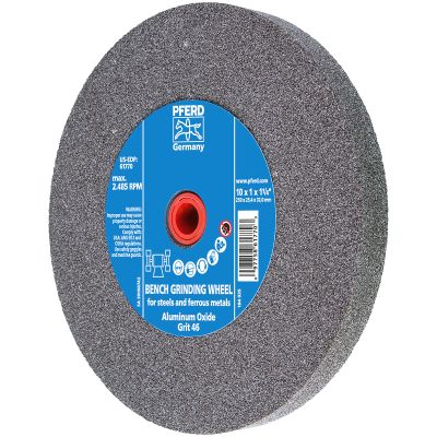 """10"""" x 1"""" x 1-1/4"""" 46 Grit Type 1 Industrial Vitrified Grinding Wheels"""