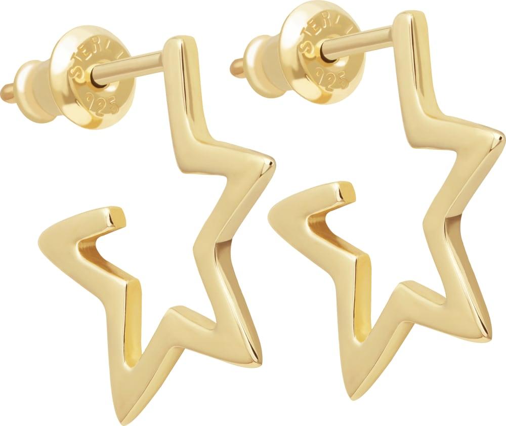 15c8d44efd Star Hoop Earrings, 18ct Gold Vermeil | Tada & Toy