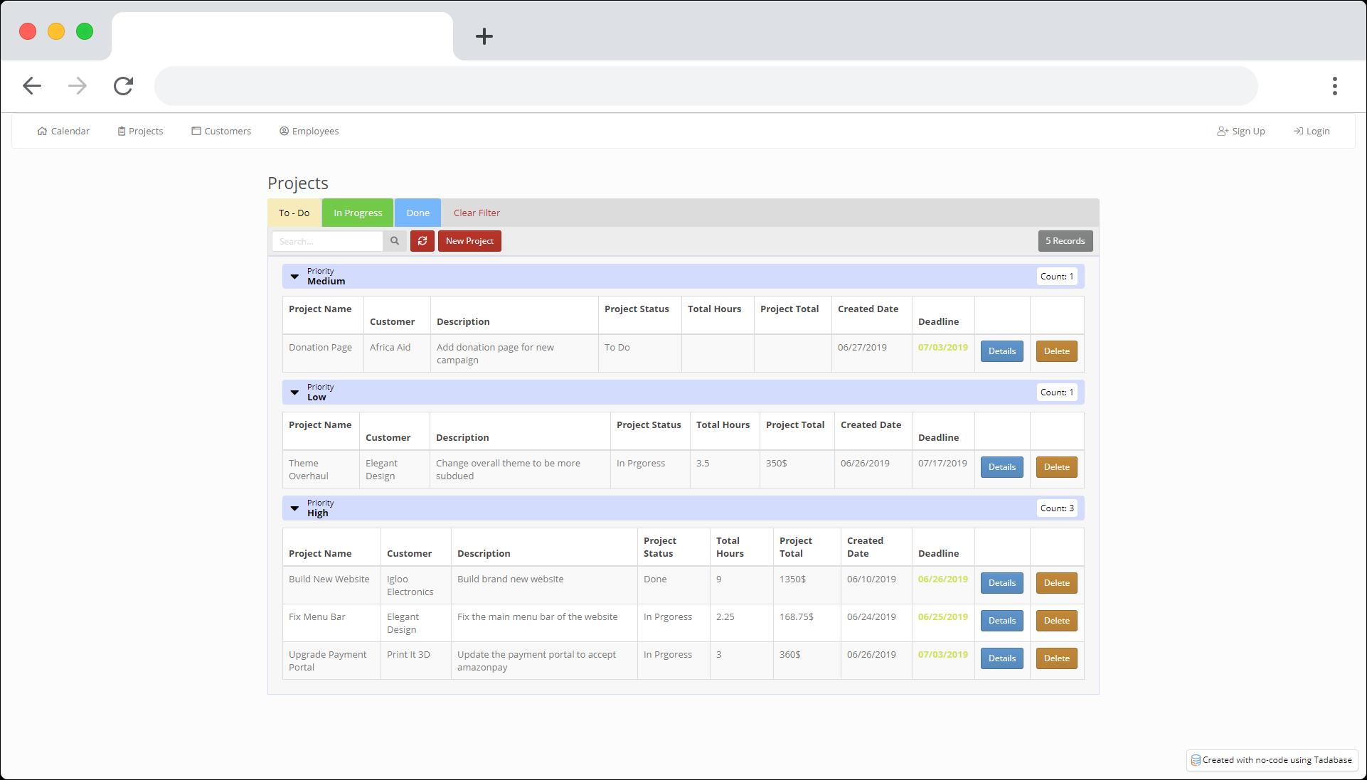 Tadabase io - Database Web App Builder - Template Apps