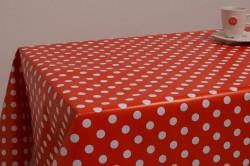 Stip wit op rood tafelzeil