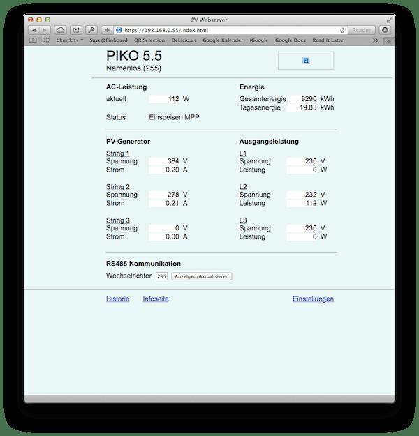 Kostal Piko converter web interface