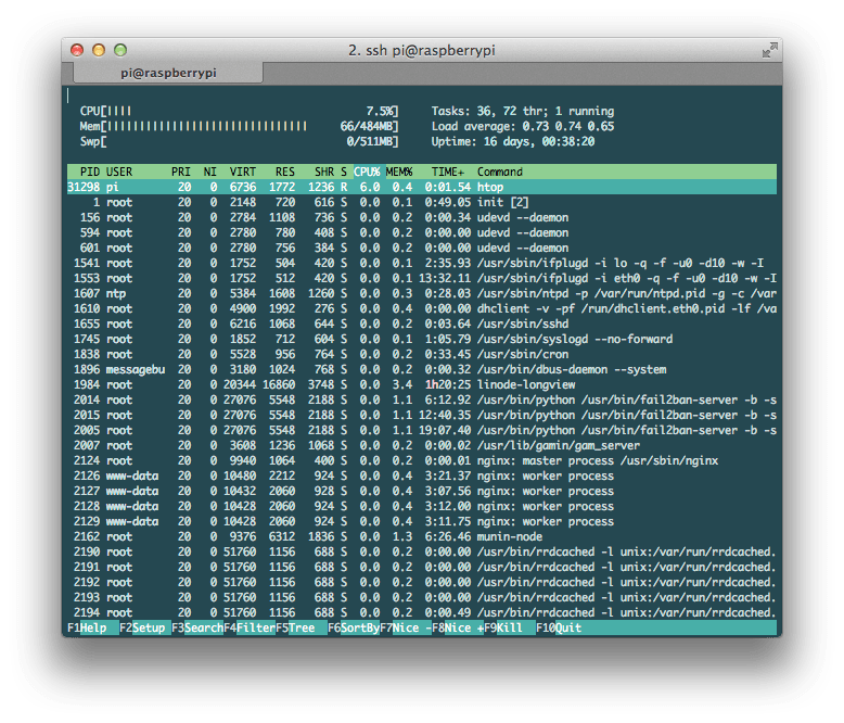 htop running on a Raspberry Pi
