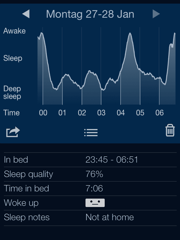 Sleep Cycle Screenshot of last night