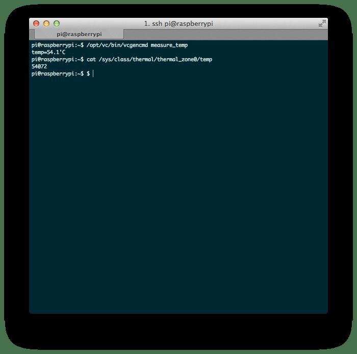 Raspberry Pi CPU Temperature shown on the command line