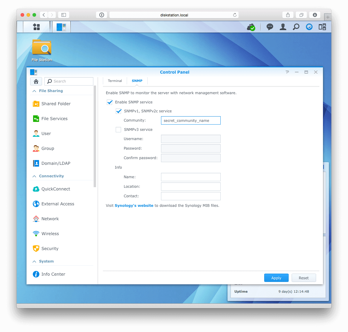 Synology SNMP settings