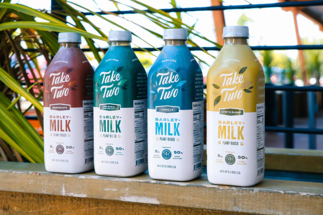 Take Two Barleymilk bottle lineup -- all 4 flavors.