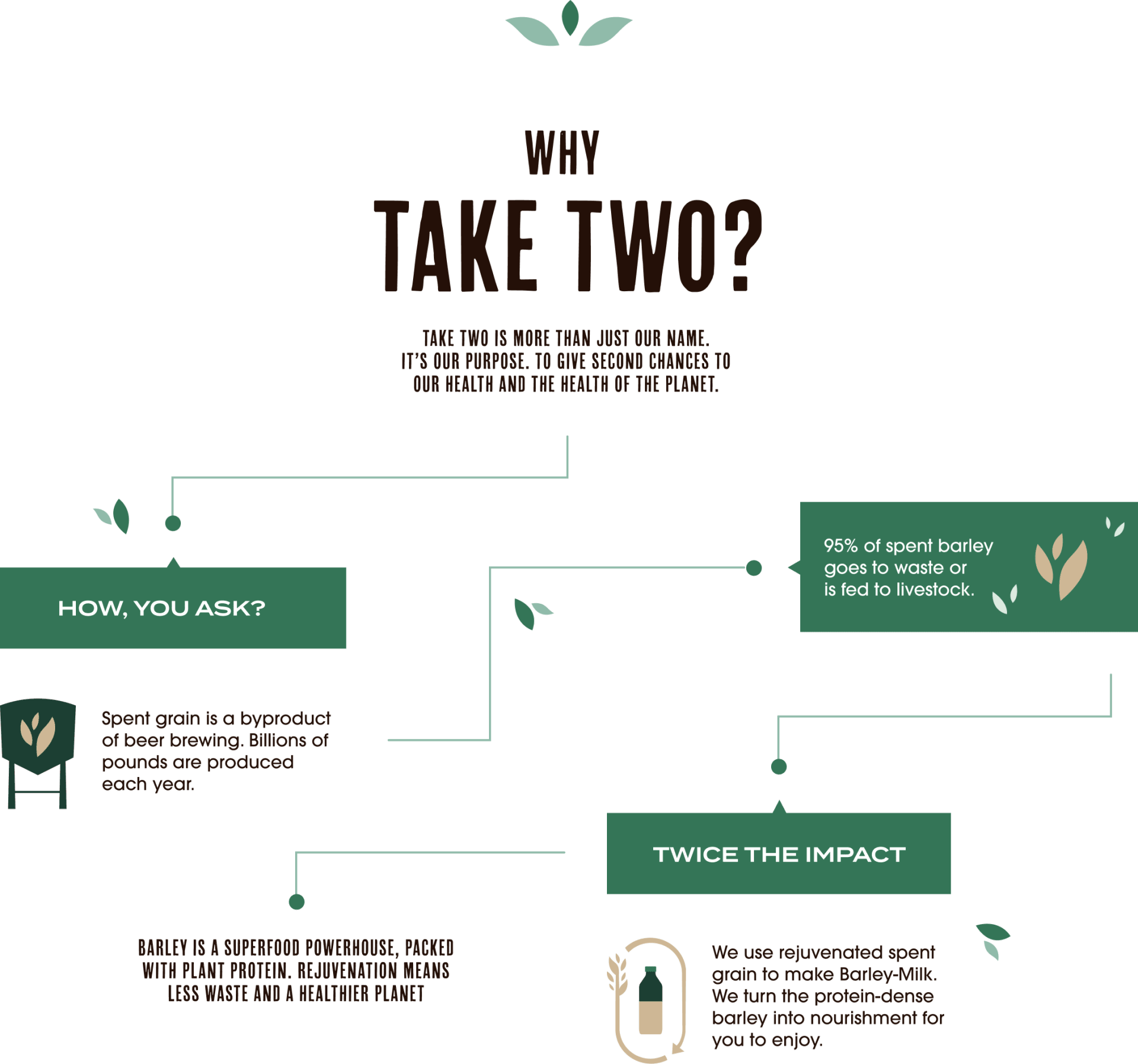 Why Take Two - an infographic outlining how Take Two takes spent grain from beer brewing (billions of pounds produced each year) and rejuvenates it to make Barley-Milk. Barley is a superfood powerhouse, packed with plant protein.