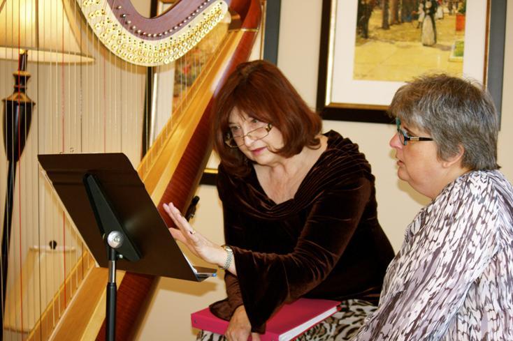 Harp Teacher Tisha Demonstrates for Lauren