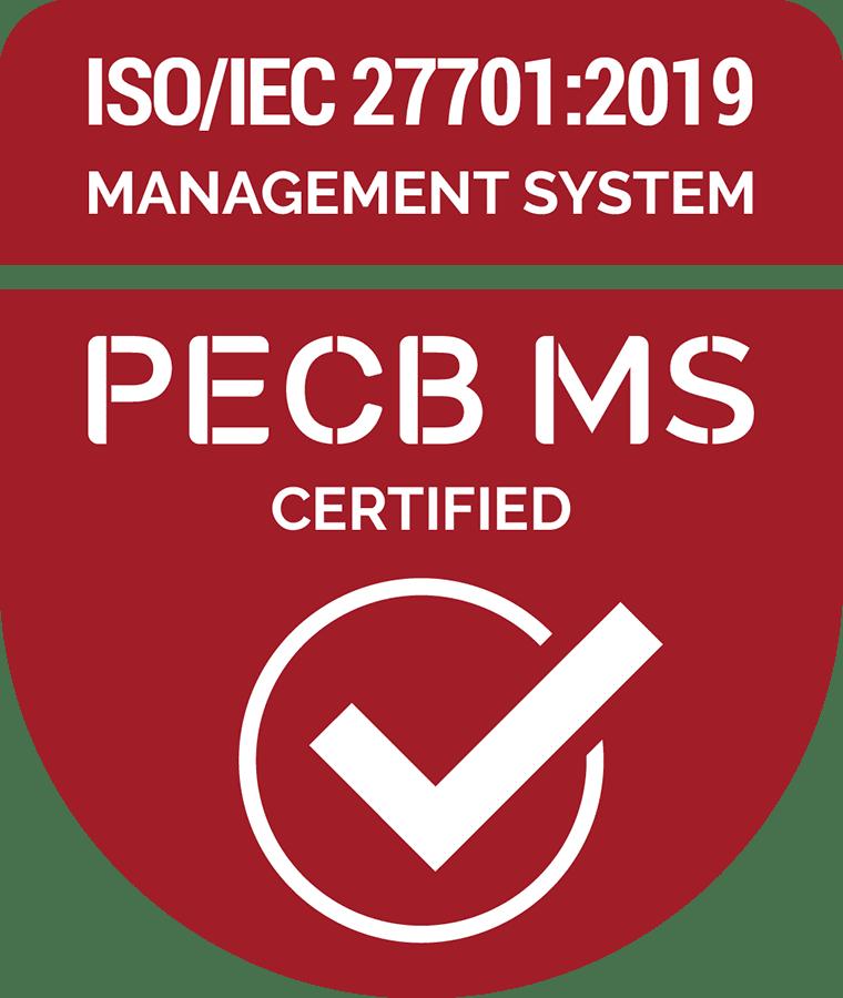 ISO/IEC 27701:2019 PECB MS Certified badge