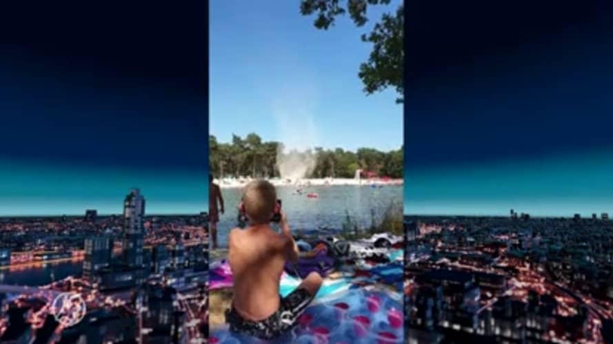 Hart van Nederland - Laat: Parasols de lucht in door spectaculaire windhoos bij zwemplas