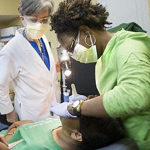 Patient receiving dental care