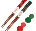 夫婦箸セット 漆切子 瓢箪箸置付 赤・緑