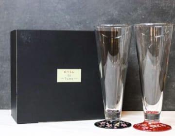 【名入れギフト】漆×ガラス ペアピルスナーSAKURA