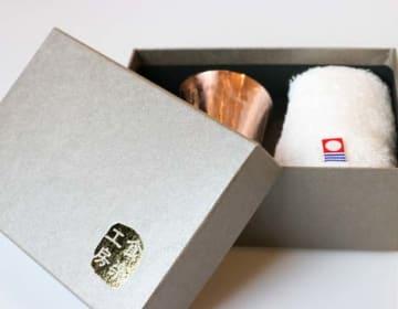 CNE981 純銅冷酒カップ&今治タオル2PCセット