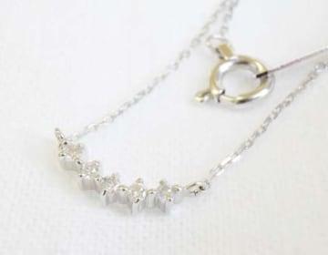K10WG ダイヤモンド(5pcs)ネックレス
