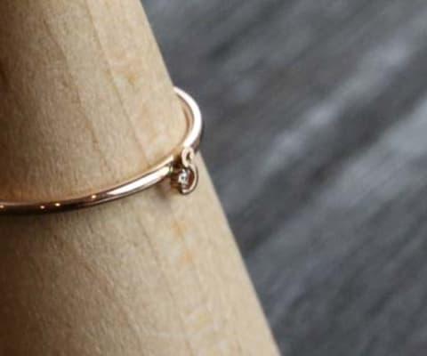 K10 Tiny Initial Diamond Ring