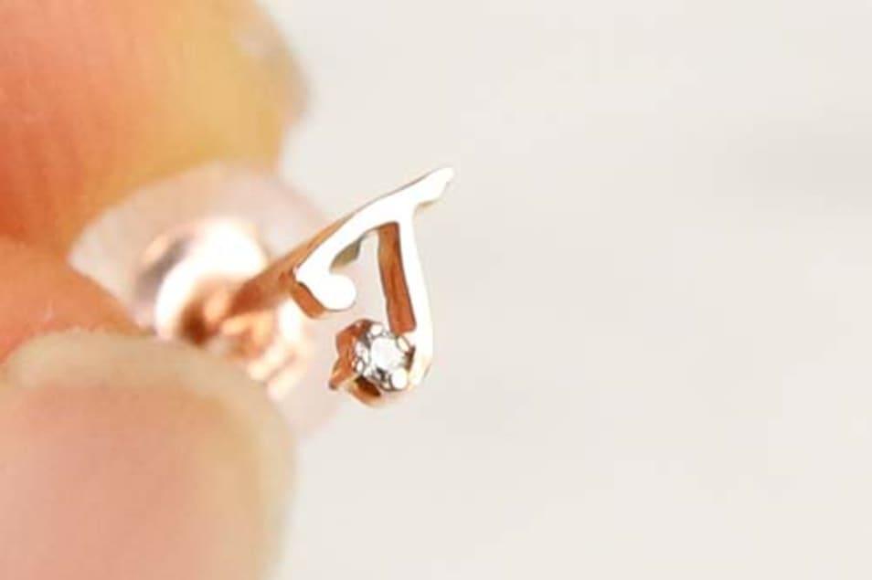 K10 Tiny Initial Diamond Pierce