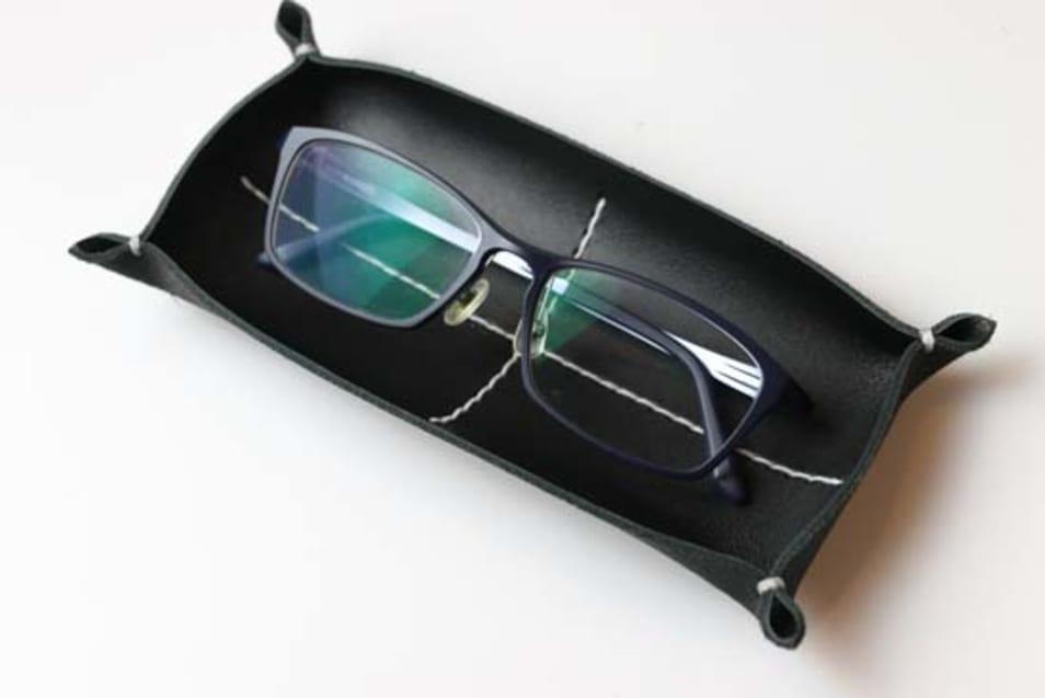 革トレイ ペン&メガネ-ブラック