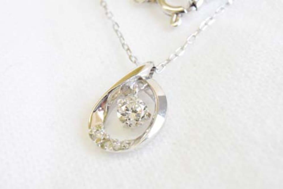 K10WG ダイヤモンドネックレス-しずく