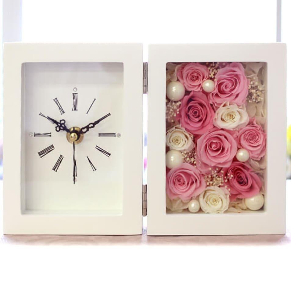 バラの置き時計 プリザーブドフラワー